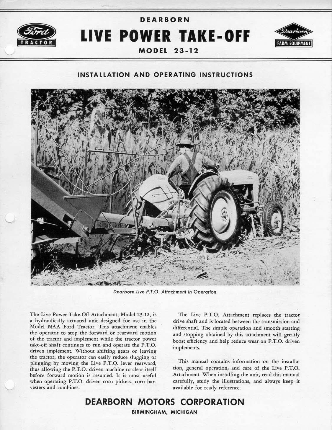 Tractor Live Pto : Jubilee sherman hi lo transmission dearborn live