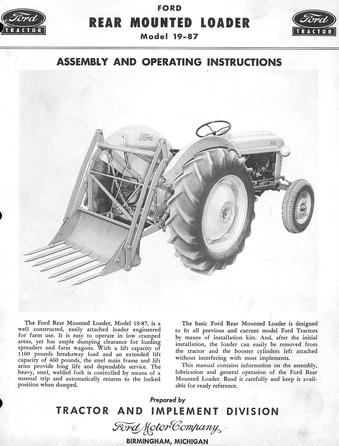 Ford Loader Arms : Garden tractor power steering add on