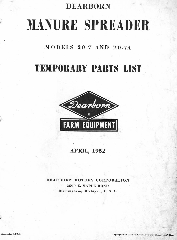 Dearborn 20 7 Manure Spreader Parts Manual