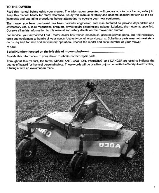 Nine Inch Ford Parts List : Ford b finish mower manual