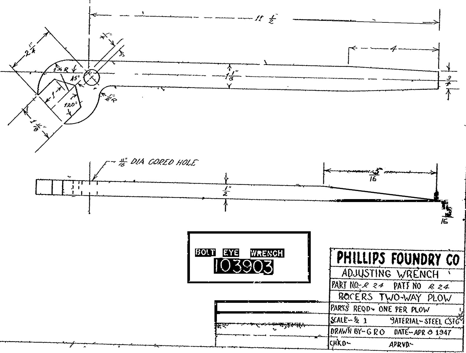 Dearborn 10 14 2 way plow blueprint for wrench