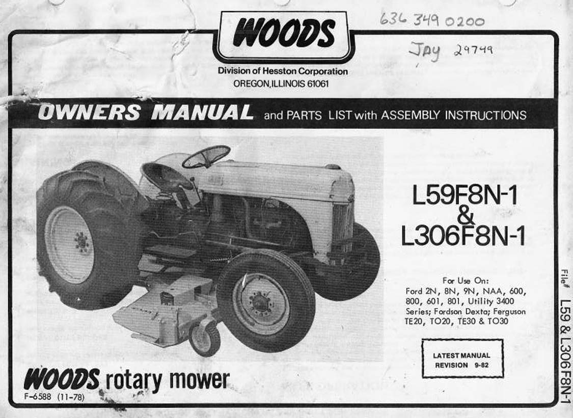 Woods Rotary Mower L59F8N-1 & L306F8N-1 - Owner's Manual