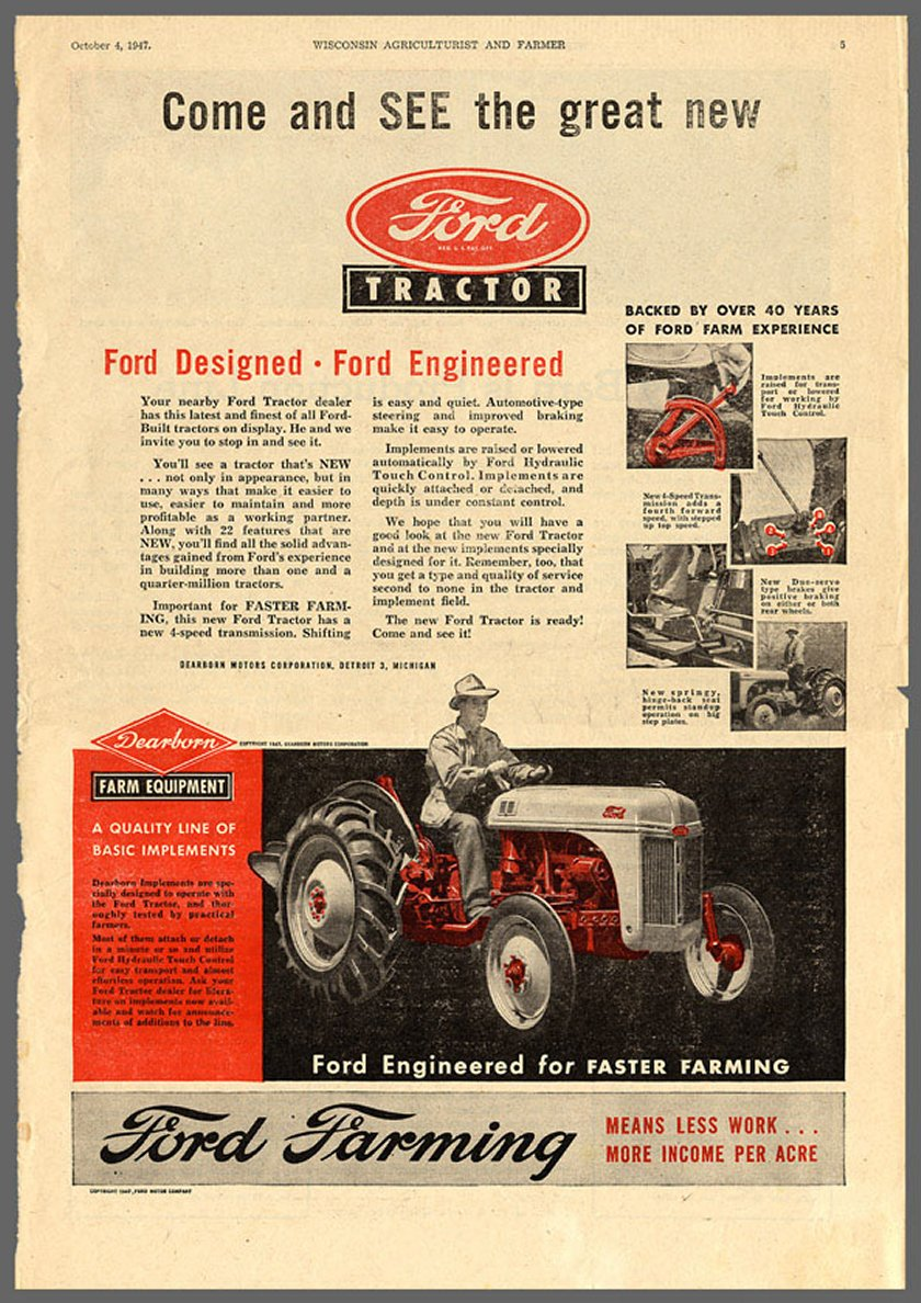 """9n Ford Tractor >> 1947 Newspaper ad for the """"new"""" 8N"""