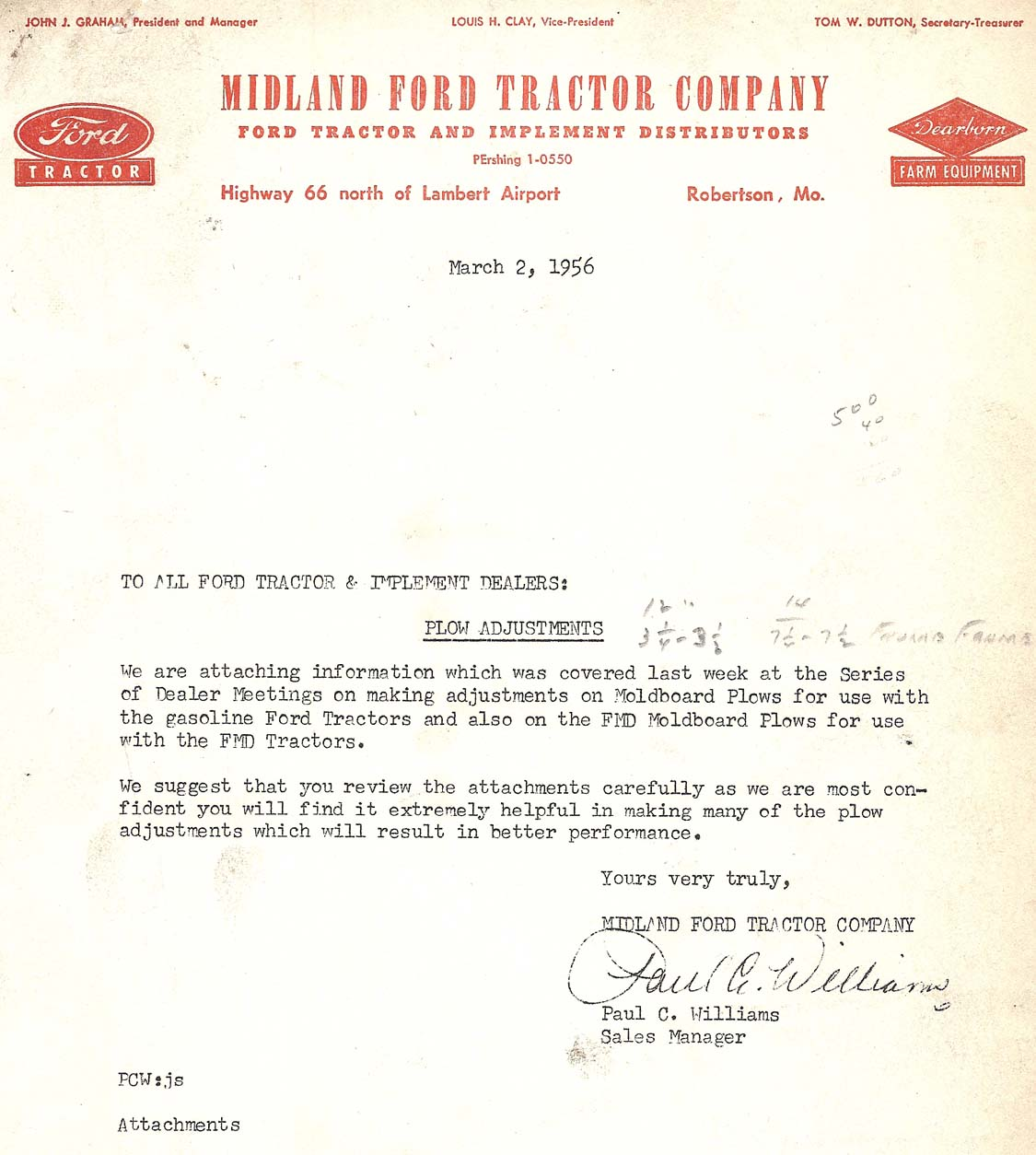 1956 Tsb On Recommended Adjustments For Moldboard Plows