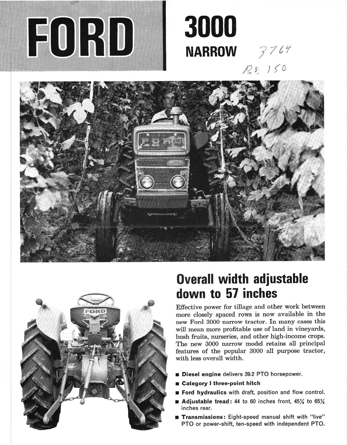 Ford 3000 Tractor Manual Instrument Panel Wiring Diagram Free Picture Narrow Dealer Ad Brochure 1125x1441